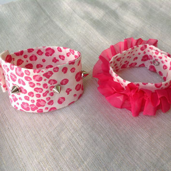 Snap On Wrist Cuff Ruffle Pink and White Leopard Print Embellished