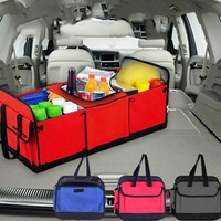 Foldable Multi Compartment Fabric Hippo Car Truck Van SUV Storage Basket Trunk Organizer and Cooler Set car trunk organizer