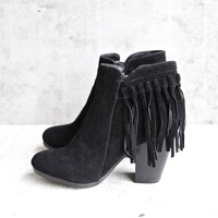 boho fringe ankle booties - black