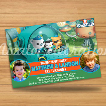 Octonauts Double Party Photo Design Invitation - Digital File