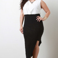 Women's White And Black Twofer Draped Dress In Plus Sizes