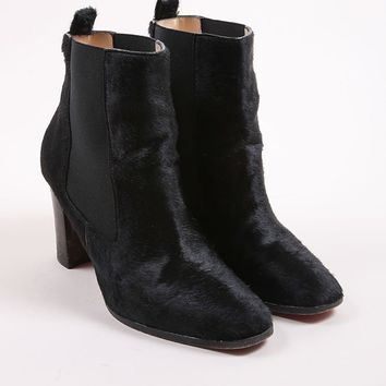 DCCK2 Christian Louboutin Black Pony Hair Square Toe Ankle Boots