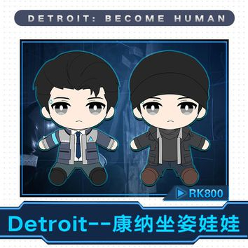 Detroit: Become Human Connor RK800 Plush Stuffed Pillow Doll Cushion Plushie Toy Removable Clothe Hat Cute Gift Cosplay Props