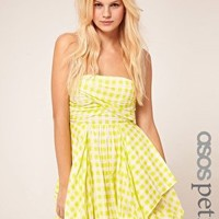 ASOS Petite | ASOS PETITE Check Bubble Hem Bandeau Dress at ASOS