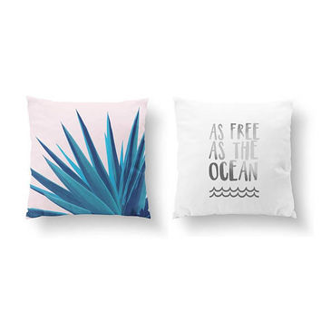 SET of 2 Pillows, As Free As The Ocean, Agave Pink Pillow, Gold Pillow, Ocean Quote, Bed Pillow, Throw Pillow, Cushion Cover, Watercolor Art