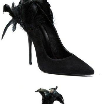 Raven Feather Heel Stiletto - Limited Edition