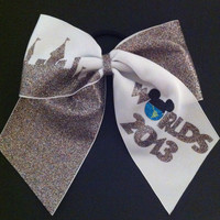 3in Rainbow Glitter Worlds Cheer Bow by BowsByTeri on Etsy