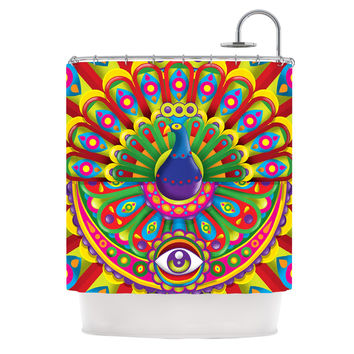 "Roberlan ""Peacolor"" Rainbow Peacock Shower Curtain"