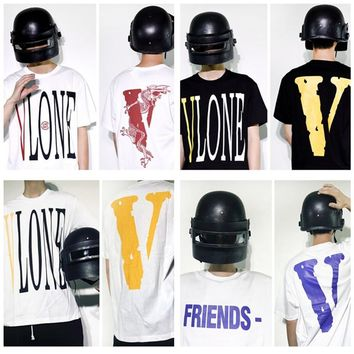 Vlone 2018 men women t-shirt Letter V hip hop streetwear kanye west fear of god Cotton justin bieber harajuku tops tshirt