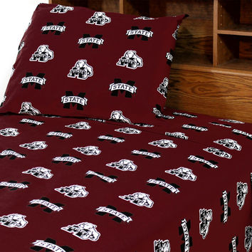 Mississippi State Bulldogs Bed Sheets Collegiate Red Bedding: Full