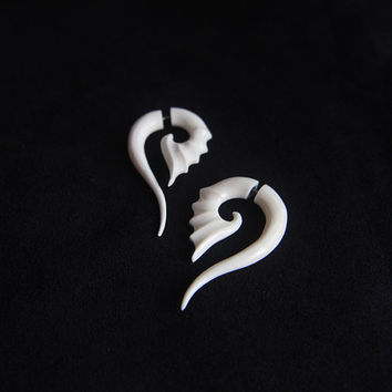Fake Gauge Bone Earrings Tribal Carving Earring Design w The Girl With Dragon Tattoo Design