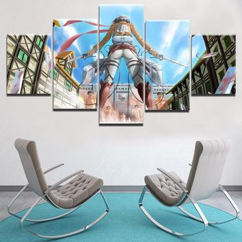 Cool Attack on Titan Modern Wall Art Canvas Print Animation Painting 5 Panel  Mikasa Ackerman Behing Poster Home Decor Modular Picture AT_90_11