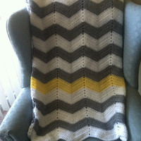 Light Gray and White Chevron Striped crochet blanket with yellow stripe