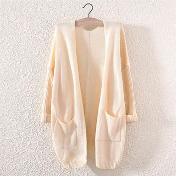 candy color women s comfortable soft cardigan with pockets 2