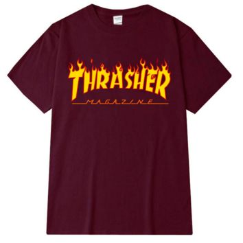 """THRASHER""Fashion print loose leisure short sleeve T-shirt Wine red"