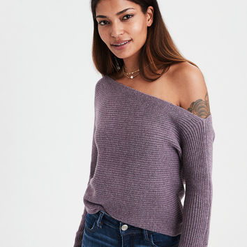 AE Off-The-Shoulder Dolman Sweater, Deep Plum