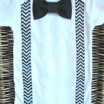 Baby Boy Clothes - Boys First Birthday Outfit - Black Chevron Suspenders and Black Bow Tie Bodysuit - Boy Coming Home Outfit