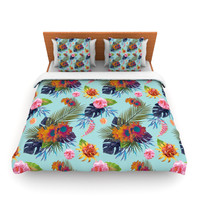 "Nika Martinez ""Tropical Floral"" Blue Flowers Lightweight Duvet Cover"