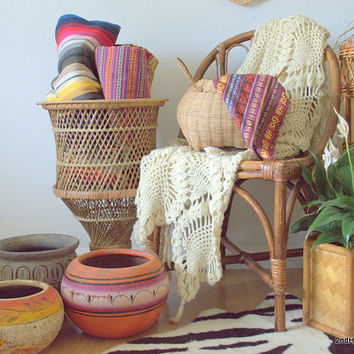 Pedestal Plant Stand, Rattan Planter Basket, Large Woven Porch Planter, Tall Wicker Planter, Woven Plant Basket, Rattan Plant Stand