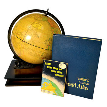 Vintage Cram's 12 inch Globe with Wooden Atlas by BananasDesign