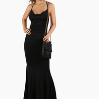 Backless Low Cowl Maxi Dress BLACK -SheIn(Sheinside)