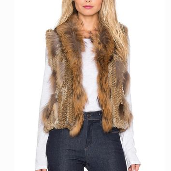 2016 100% Genuine Rabbit Fur Knitted Vest With Raccoon Fur Trimming,  Real Rabbit Fur Vest Free Shipping SU-16029
