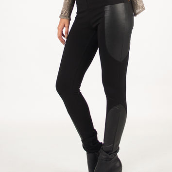 Side Leather Patched Leggings