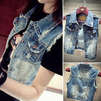 Fashion Women Summer New Burr Vintage Single Breasted Denim Short Jackets Slim Sleeveless Worn-out Jeans Vests S-XL
