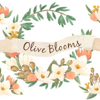 Olive Blooms Floral Watercolor ClipArts Scrapbook Digital Files Download Wedding Invitation White Peach Pink Leaves Flowers Wreath Printable