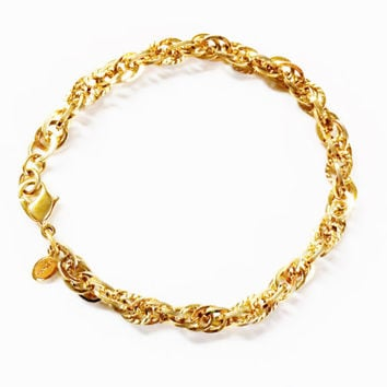 Gold Chain Bracelet, Monet Bracelet, Chain Link Bracelet, Gold Links, Monet Jewelry, Vintage Bracelet, Signed Jewelry