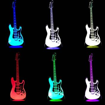 6-String Electric & Acoustic Guitar 3D Table Lamp LED Music Night Light for Musicians Home Decoration Birthday Christmas Present Gift