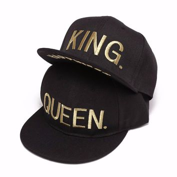 Trendy Winter Jacket KING QUEEN gold shine Print Trucker Caps Men Women Summer Visor Snapback Hat White Black Couple baseball cap AT_92_12
