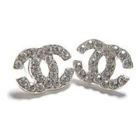 Limited Edition Silver CC Stud Earring with Clear White Crystal