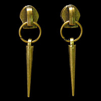 Spike zipper earrings, antique brass tone, modern, rocker chic