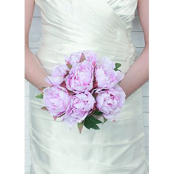 """Faux Peony Bouquet in Lavender12"""" Tall"""