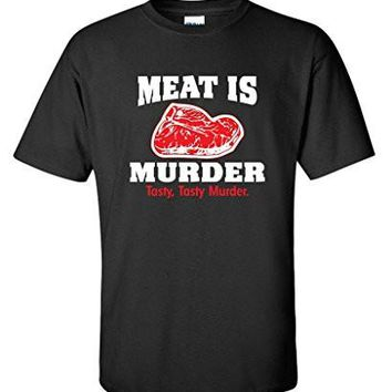 Meat Is Murder Tasty Murder Mens Novelty Sarcastic Gift Idea Funny Cheap T Shirt