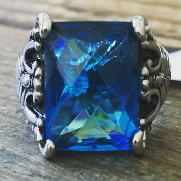 A Celtic Perfect 6CT Emerald Cut London Blue Aquamarine Promise Engagement Birthstone Ring