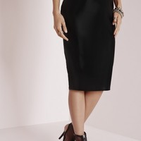Missguided - Faux Leather Midi Skirt Black