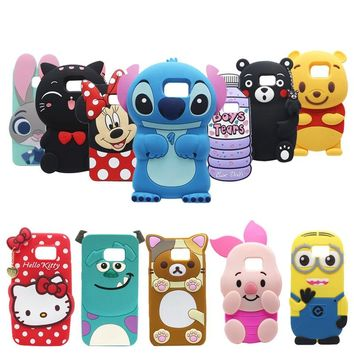 For Samsung Galaxy Note3 Note4 Note5 3D Cartoon Cute Soft Silicone Case Back Cover Skin For Samsung Galaxy Note 3/4/5