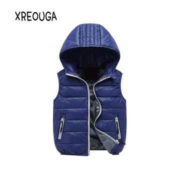 Child Vest Waistcoat Hooded Bebe Vest Outwear Infant Vest Coat Girls Boys Down Winter Vest Baby Sleeveless Jacket for Kid XZ02
