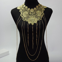 Gold  Body Chain Women Big Lace Flower Necklaces& Pendants Fringle Tassel Body Chains Gothic Jewelry Maxi Colar