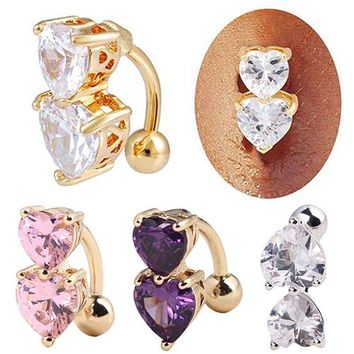 Hot Designed Brand Reverse Crystal Zircon Bar Belly Ring Gold Body Piercing Button Navel Two Hearts  6KMC 7EUQ BE46