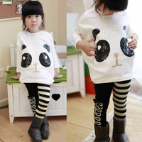 CUTE Girls Panda Over Hip T-Shirt Batwing Top+White Black Striped Leggings  D_L = 1713115844