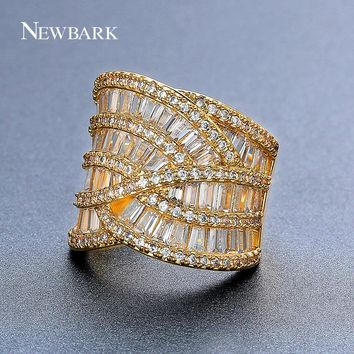 NEWBARK New Shining Wide Finger Wedding Rings for Women Rhinestone Luxurious Beauty anillos Female Channel & Pave Setting
