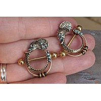Elephant Gold Nipple Bar Jewelry Barbell