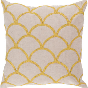 Surya Meadow Throw Pillow Neutral, Yellow