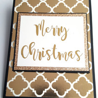 "Real Gold Foil ""Merry Christmas"" Card, handmade gold foil, cursive typography, script font, gifts for christmas, gold glitter, holiday cards"