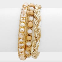 Braided Bracelet Set - Beige