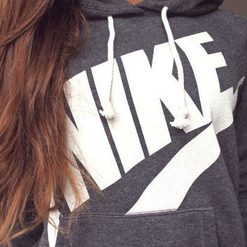 """NIKE"" Fashion Casual Women Hooded Top Sweater Pullover Sweatshirt Hoodie Grey G"