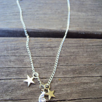 Silver Moon and Stars Necklace Boho Simple Dainty Fashion Jewelry